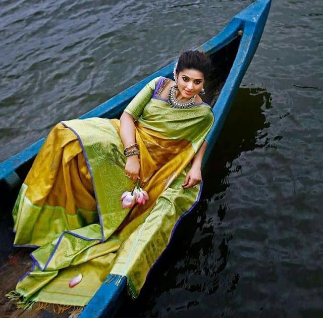 Sneha Mustard Light Green Sari