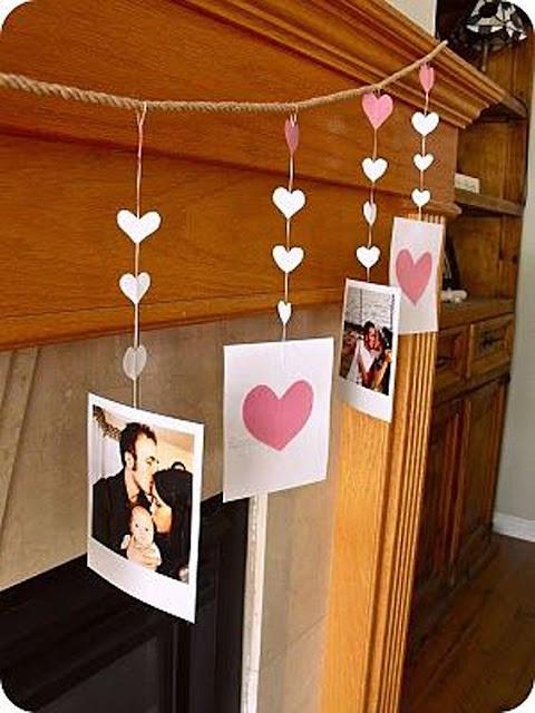 varal de corações com fotos