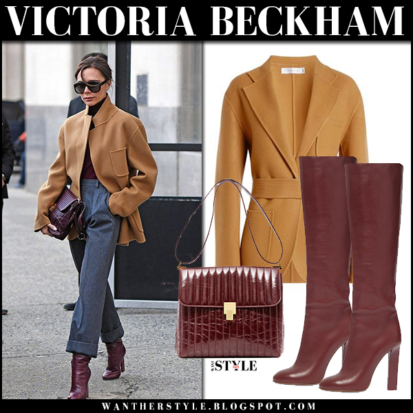 Victoria Beckham in camel jacket, grey trousers and burgundy leather boots new york fashion week february 2018