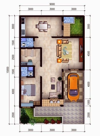 5 Denah Rumah Minimalis Modern Type 36 Terbaru 2019 Kaula Ngora Kumpulan Gambar Kerja File Dwg