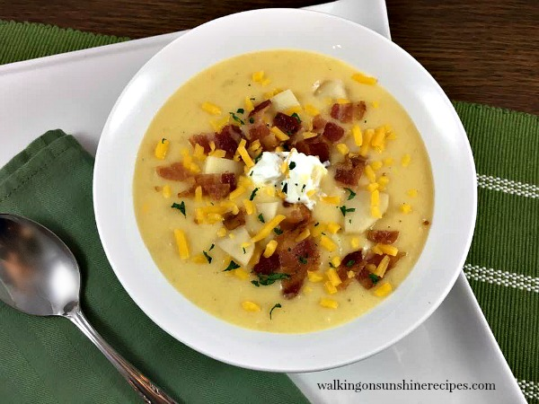 Dinner is ready in 30 minutes with this easy recipe for potato soup that tastes better than Panera from Walking on Sunshine.