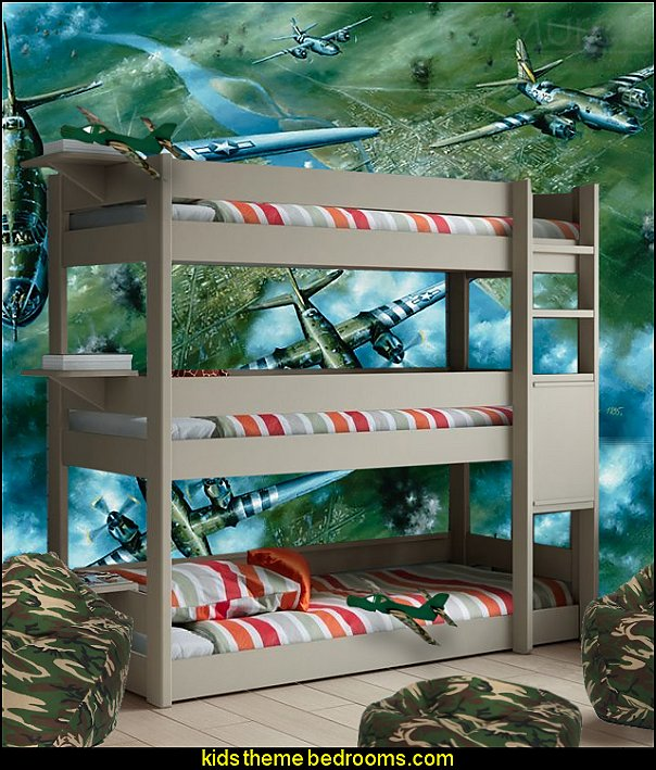 Army Camouflage  Bean Bag, Three Tier Bunk Bed