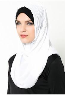Jilbab Instan Warna Putih Elegan