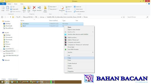 Menyalin folder HCSwitch dan Win7 yang terletak di dalam file driver