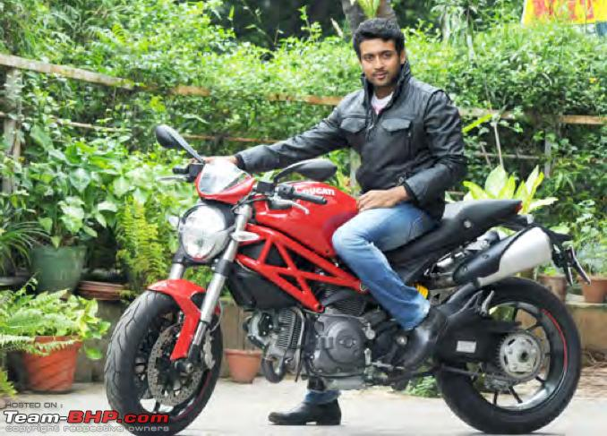 Surya S Ducati Monster 796 Celebrity Cars India