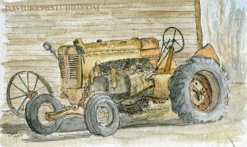 art sketch plein air vintage tractor watercolor pen