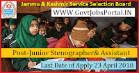 Jammu & Kashmir Services Selection Board Recruitment 2018-Junior Stenographer& Assistant
