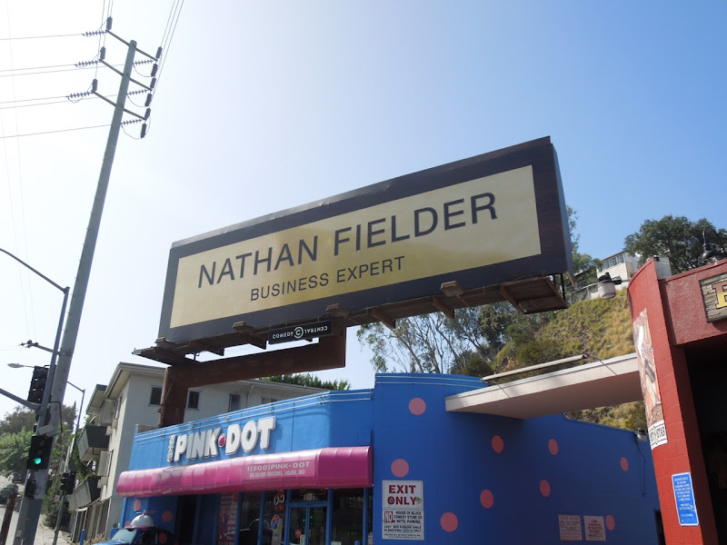 Nathan Fielder name plate billboard installation