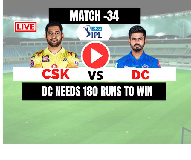 DREAM11 IPL 2020, DC VS CSK, 34rth Match, 17 OCT,  DC needs 180 runs to beat CSK, Game ON!