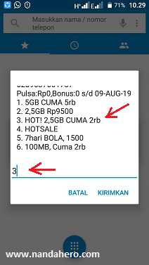 paket internet 3 Tri 2.5gb 2000 24 jam