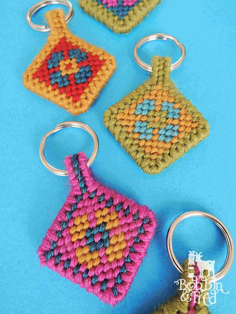 Flower tapestry keyrings in different colorways
