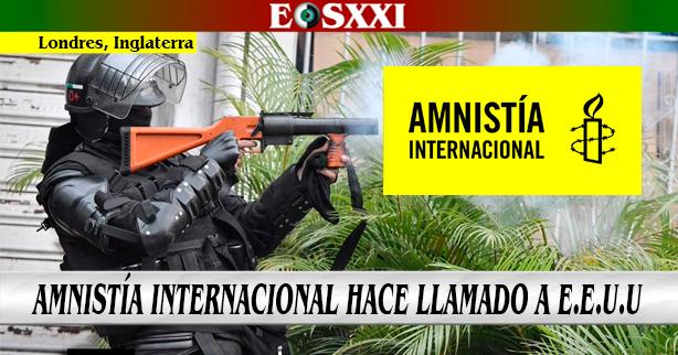 """""""Estados Unidos debe dejar de proveer armas usadas para reprimir protestas en Colombia"""": Amnistía Internacional"""