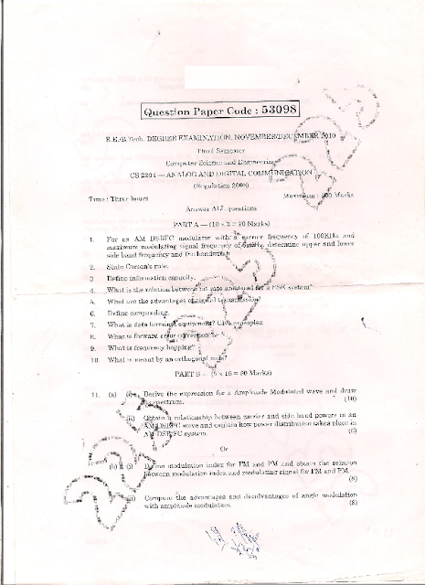 cs2204 analog and digital communication question papers