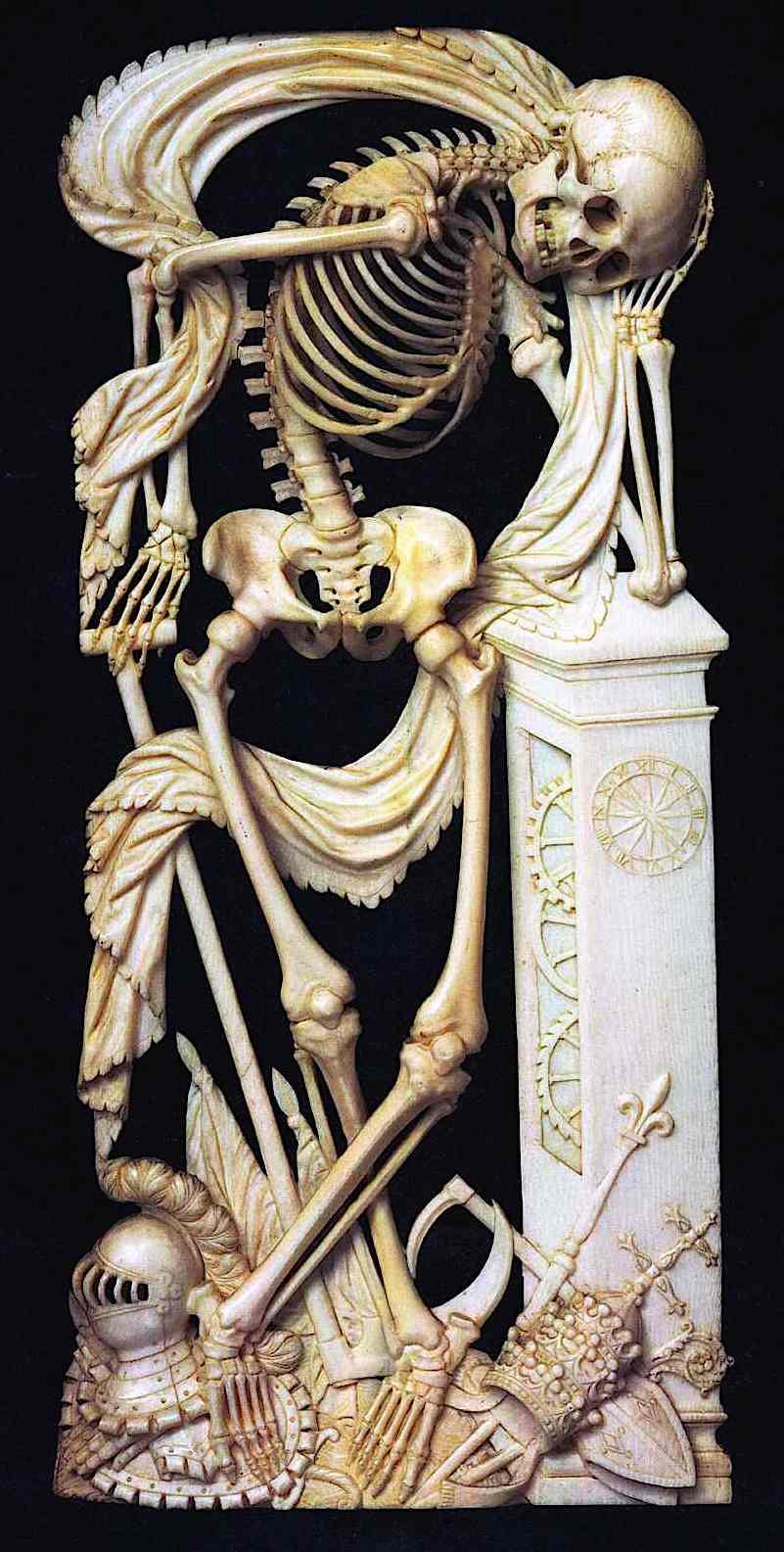 skeleton art pre-1800, carved ivory