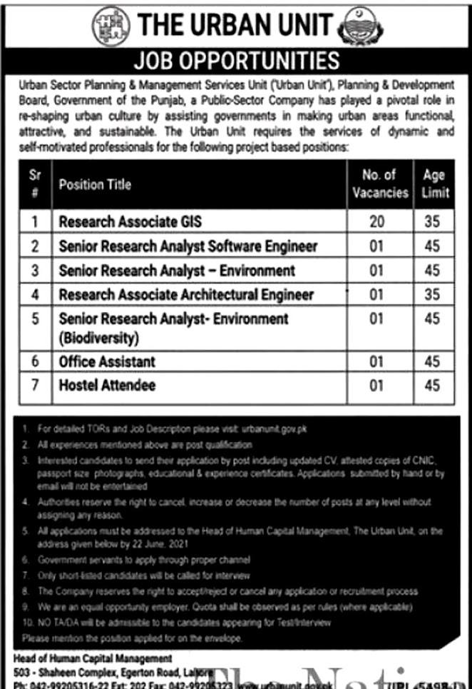 Latest Jobs in The Urban Unit Punjab 2021 - www.urbanunit.gov.pk - Apply online