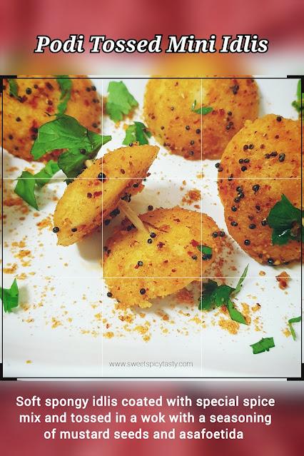 Podi idlis are a classic breakfast or tea time snack made from spongy idlis by smearing it with molgapudi mixed in oil.podi idlis,how to make podi idli, mulagapudi peratina idli, button idlis,  podi button idli , podi tossed idlis