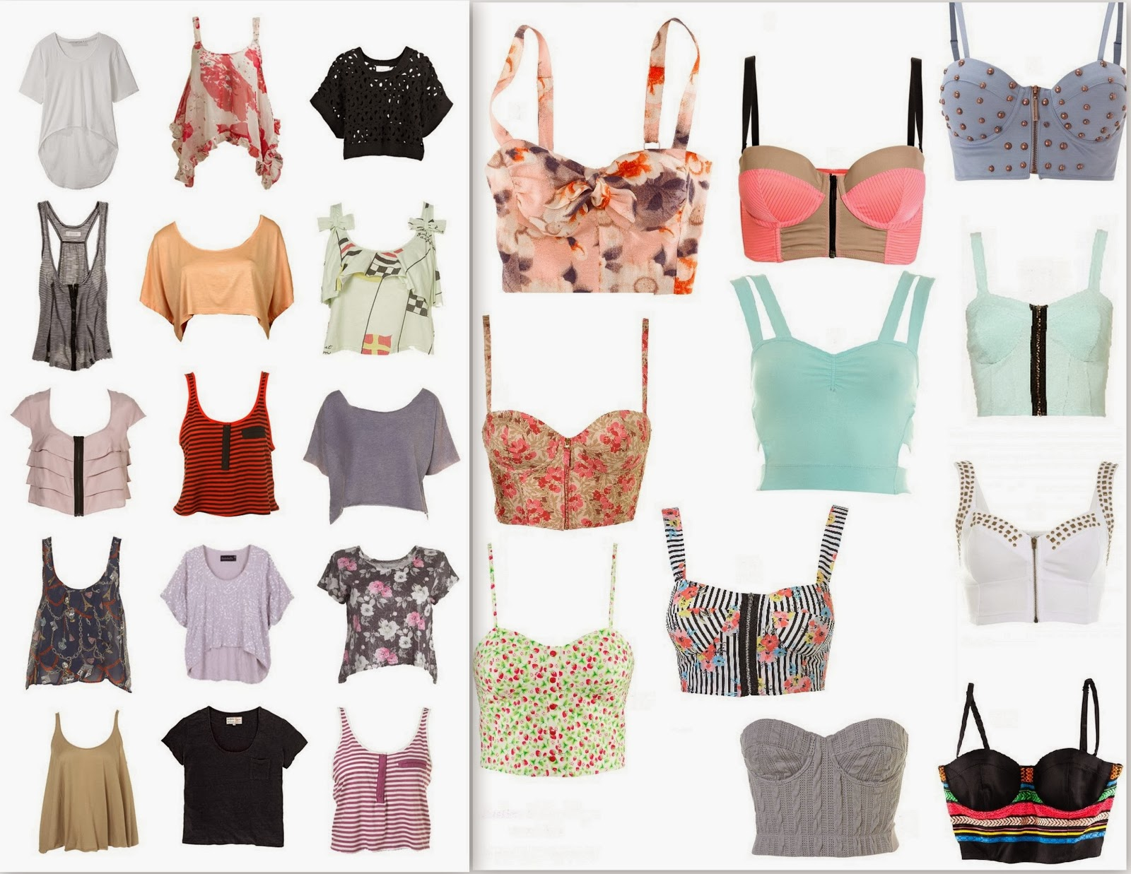 crop tops, crop t-shirts, bustier crop tops, printed crop tops,