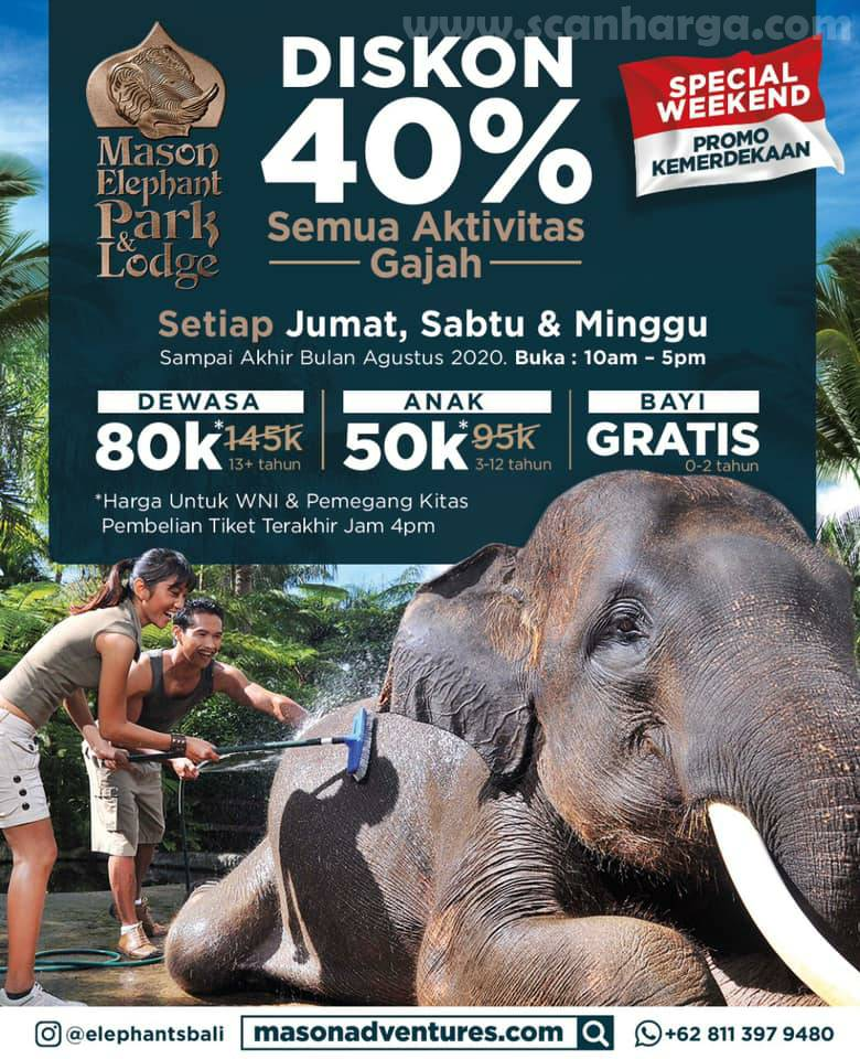 Promo Mason Elephant Park & Lodge Bali Special Weekend Discount Tickets Up To 30% Off*