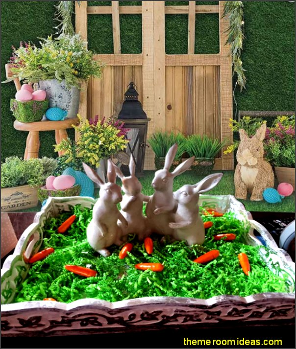 Spring Easter Backdrop Supplies for Professional Photography Hare Rabbits Decoartions Colorful Eggs