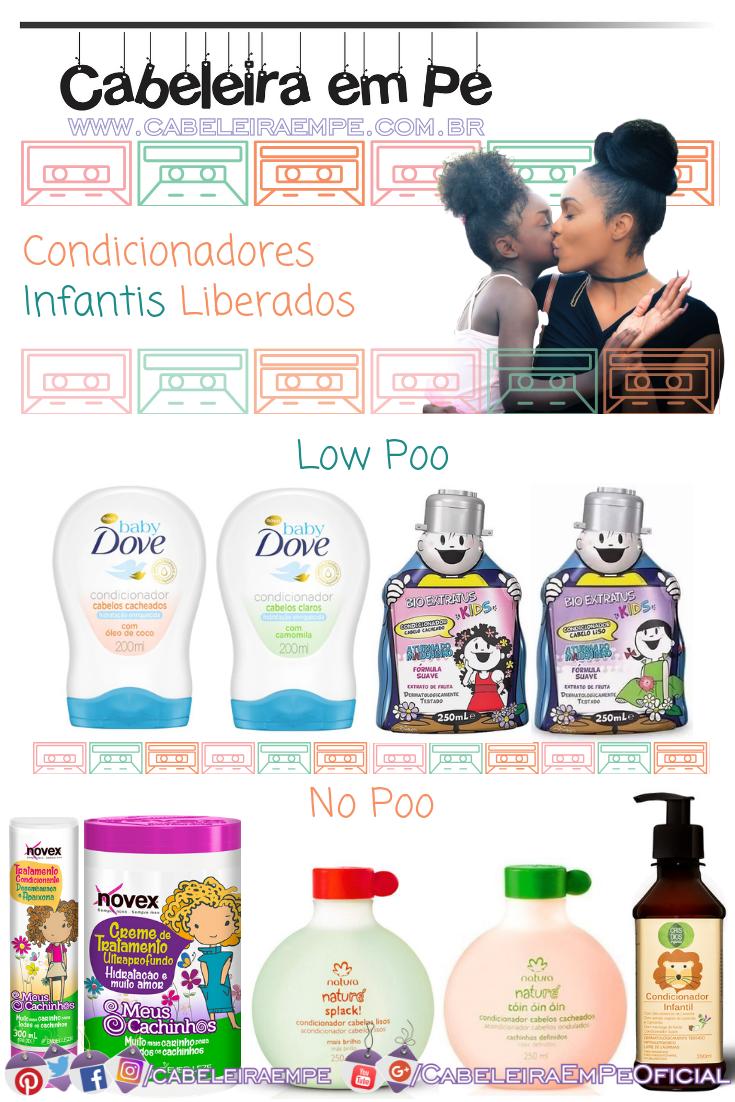 Condicicionador Infantil e Máscara de Tratamento para crianças das marcas Dove Baby e Bio Extratus (Low Poo) - Natura, Embelleze e Cris Dios - Produtos Low Poo Infantil