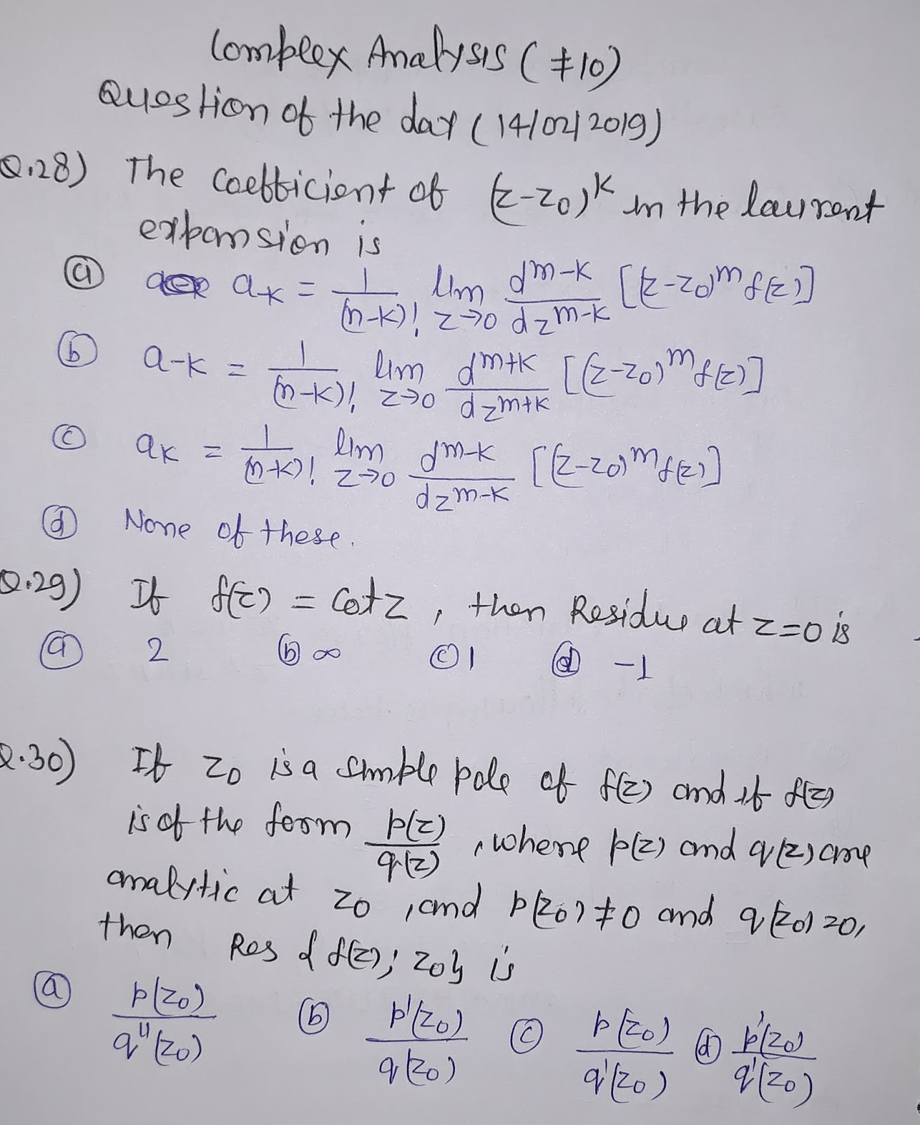 AMMATHS TUTORIALS : #10 Complex Analysis - Question of the