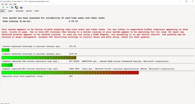 LatencyMon results for Lenovo IdeaPad L340 laptop.