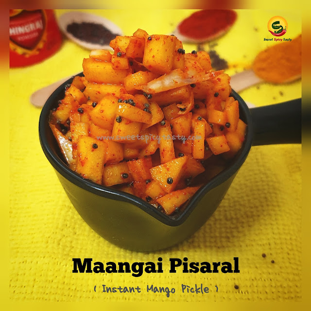 Maangai Pisaral or Maanga thundam is a quick instant mango pickle which is very easy to make and  tastes very flavorful. Mangai pisaral, manga thundam, jhatpat aam ka achar , instant mango pickle , how to make manga pisaral, pickle in 5 mins