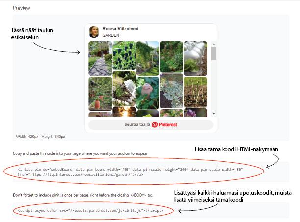 Pinterest-taulun upotukseen tarvittavat koodit löytyvät täältä
