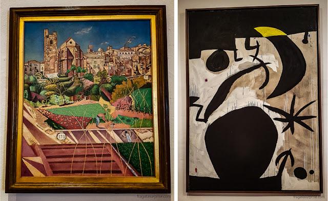 """""""A vila e a igreja de Monte Roig"""" (1919) e """"Mulher e pássaros na noite"""" (1974), obras de Joan Miró"""
