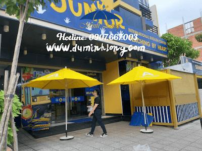 Bán dù tròn đúng tâm kích thước 3m màu vàng cho khách Quảng Ngãi