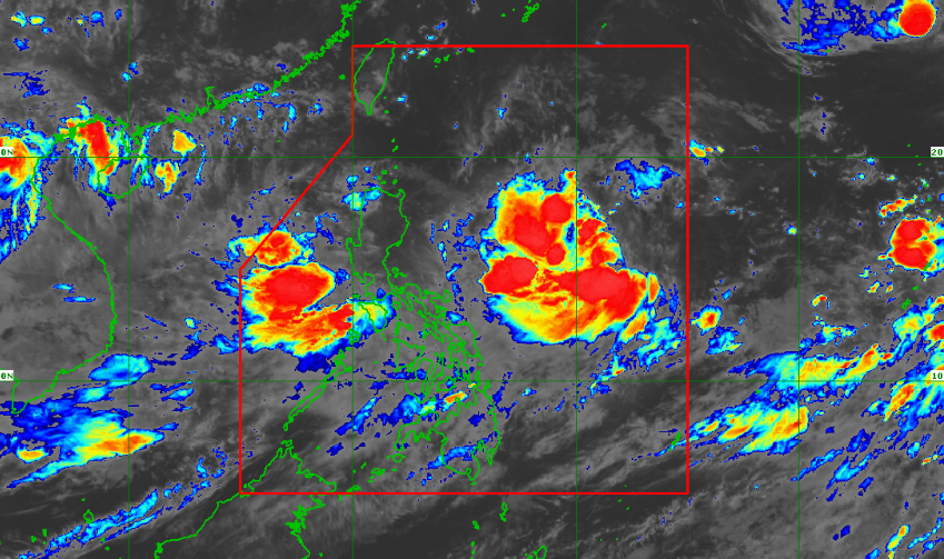 Satellite image of Tropical Depression Hanna as of 9:50 pm, August 3, 2019