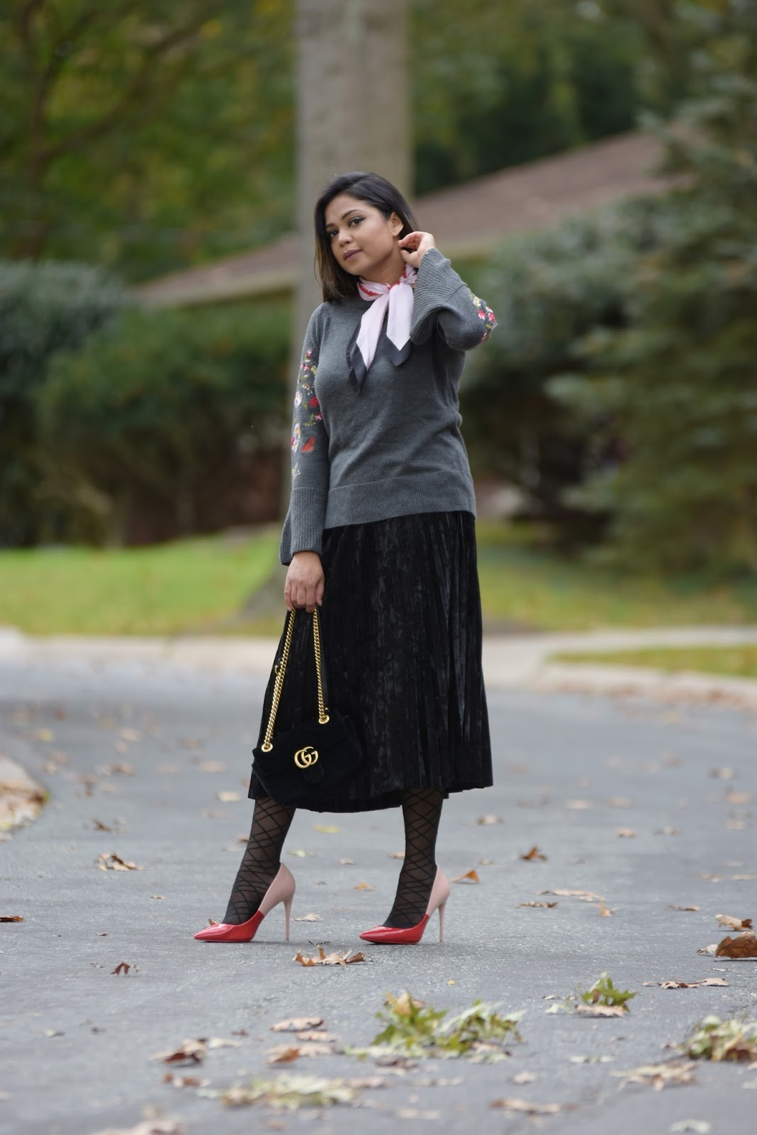 How to wear velvet this season, fall fashion, velvet pleated skirt, gray bell sleeve sweater, embroidered sweater, fashion, street style, myriad musings