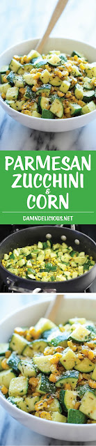 #cookingfromscratch; Quick and easy recipe for a summer side dish. https://damndelicious.net/2014/07/12/parmesan-zucchini-corn/