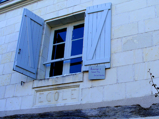 Tribute to Samuel Paty on the former school, Crissay sur Manse, Indre et Loire, France. Photo by Loire Valley Time Travel.