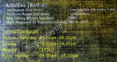 Opening hours for Chanteek Borneo Gallery