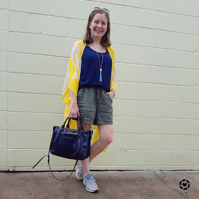 awayfromblue Instagram | navy olive and yellow soft pull on embroidered shorts and kimono outfit with Rebecca Minkoff Regan bag