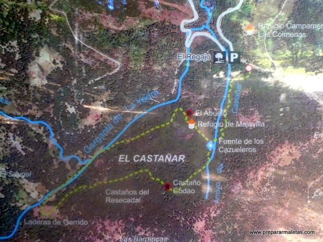 mapa del sendero Castañar de El Tiemblo