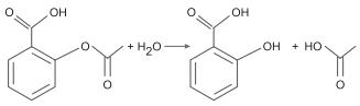 O ácido acetilsalicílico possui a função éster, a qual sofre hidrólise de acordo com a equação a seguir