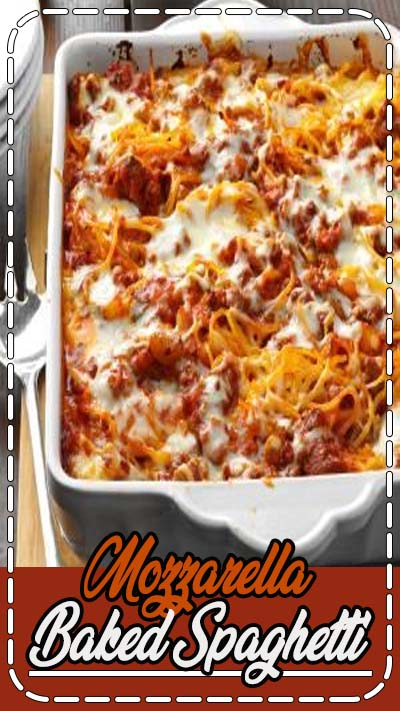 This satisfying baked spaghetti recipe is quick to make and will please young and old alike. Add a salad and breadsticks, and you're ready for company. —Betty Rabe, Mahtomedi, Minnesota