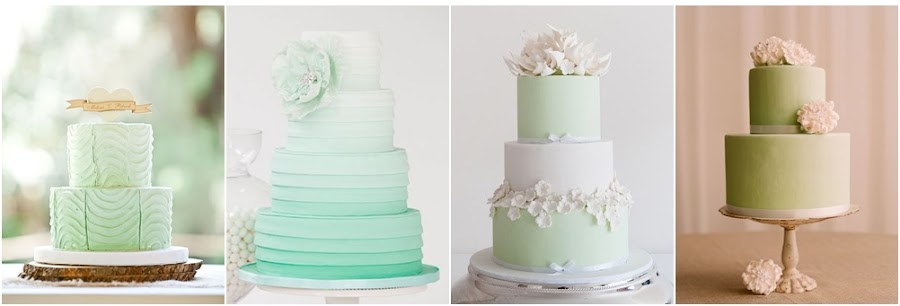 Tarta de fondant verde para bodas
