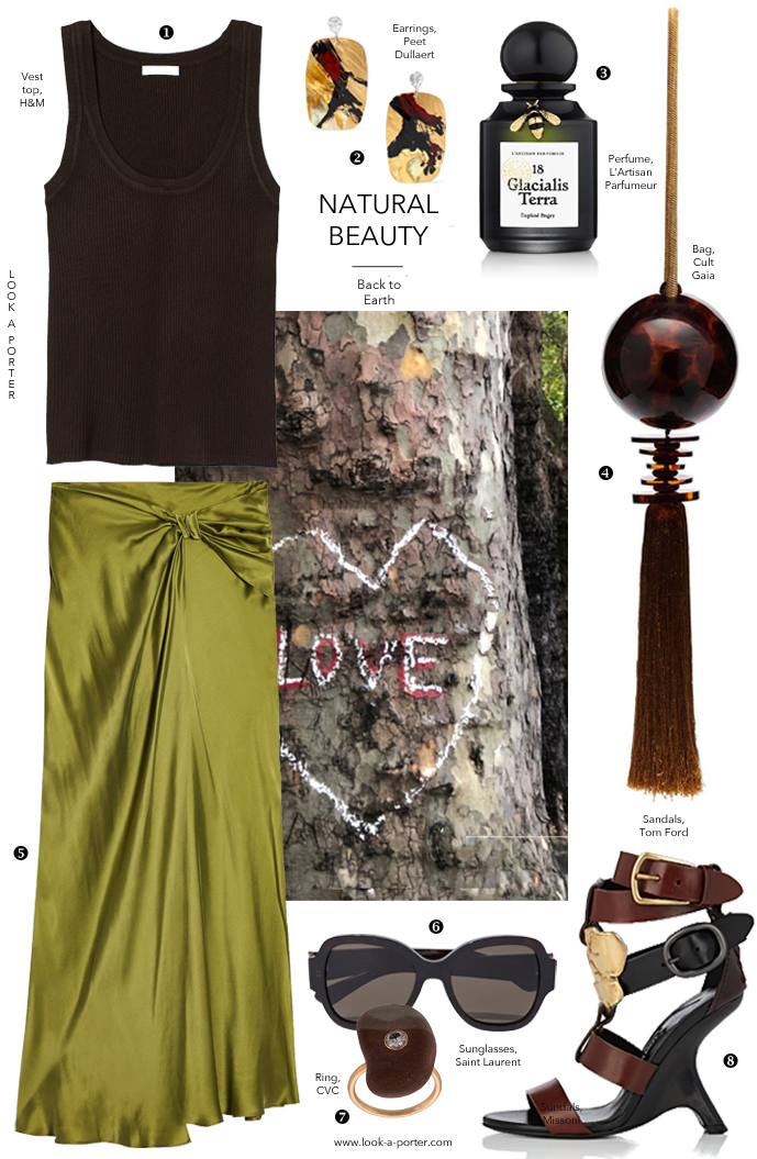Inspired by nature, olive silk skirt and tom ford sandals, this evening party look for a summer evening to release the inner goddess in every woman. Styled with tom ford shoes, top shop, cult gaia, cvc stones jewellery, saint laurent sunglasses and H&M for look-a-porter.com fashion blog
