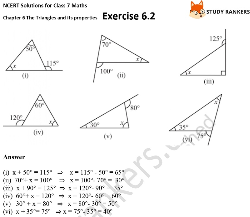 NCERT Solutions for Class 7 Maths Ch 6 The Triangles and its properties Exercise 6.2 2