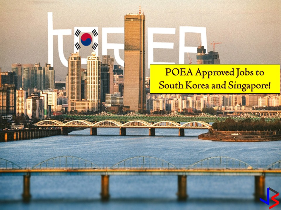 Looking for opportunities to work abroad? Here is your chance to work in South Korea or Singapore this year! The following are job orders from Philippine Overseas Employment Administration (POEA) to Singapore and South Korea this month of August 2018!  South Korea is hiring for Filipino workers particularly acrobats, engineer, inspector, surveyor, technicians, and singers while Singapore is looking for hundreds of domestic workers, teachers, singer, keyboardist, drummer, bassist, nurses, and musicians!  Please reminded that jbsolis.com is not a recruitment agency, and all information in this article is taken from POEA job posting sites and posted here for easier public access.   The contact information of recruitment agencies is also listed. Just click your desired jobs to view the recruiter's info where you can ask a further question and send your application. Any transaction entered with the following recruitment agencies is at applicants risk and account.