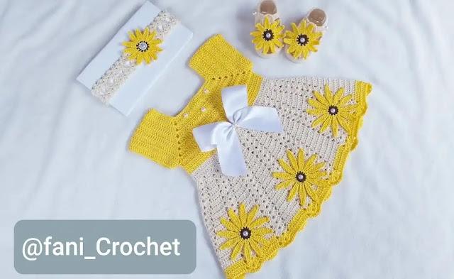 Conjunto Vestido de Bebé y Vincha a Crochet