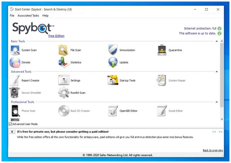 Spybot - Search & Destroy  : Αναζητήστε και εξαλείψτε  spyware και adware