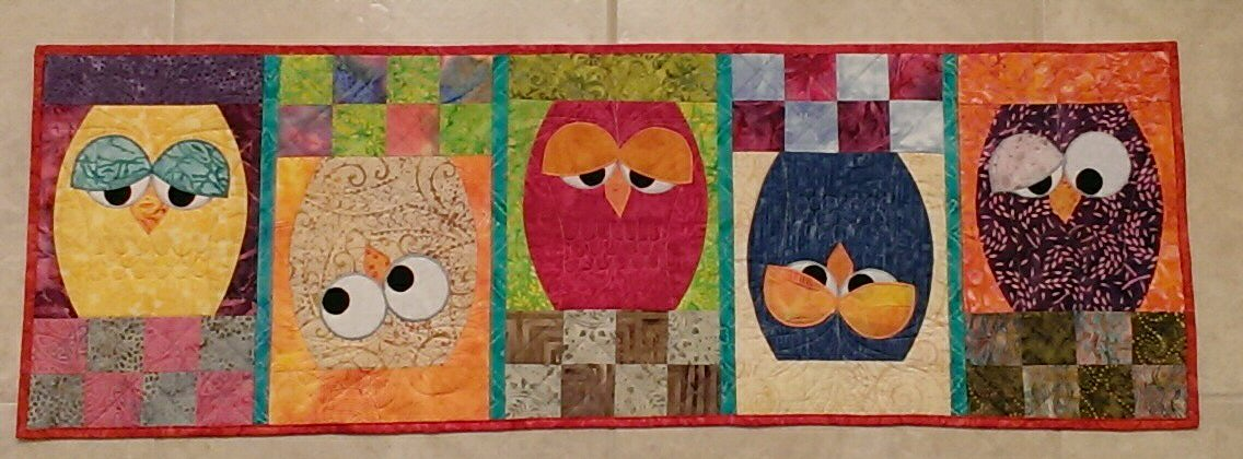 Quilt Knit Run Sew Owl Table Runner Quilt As You Go