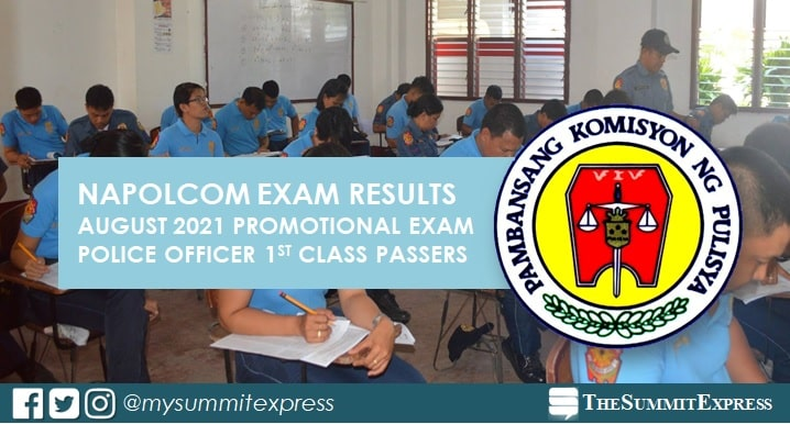 August 2021 NAPOLCOM promotional exam result for Superintendent (1st Class)