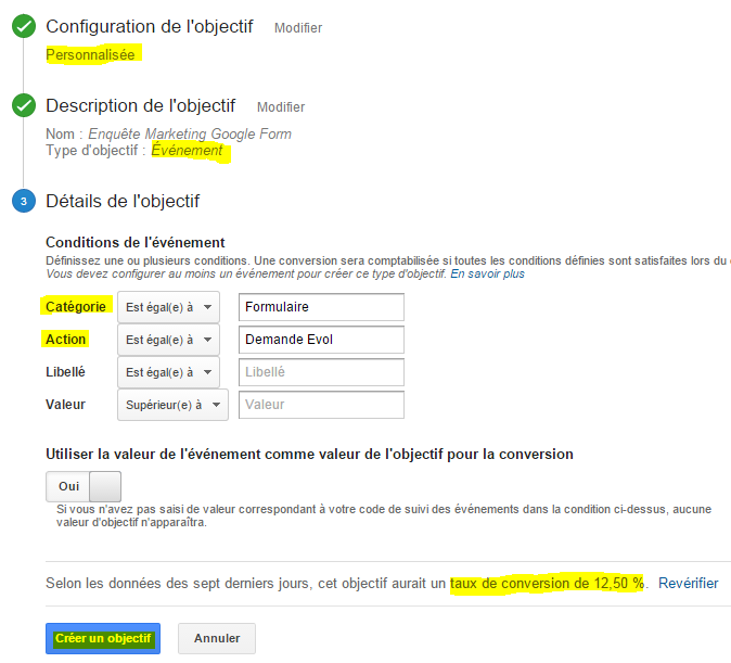 configuration objectif google analytics avec evenement google form
