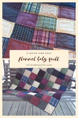 Simple flannel squares make a modern patchwork quilt for a baby's nursery