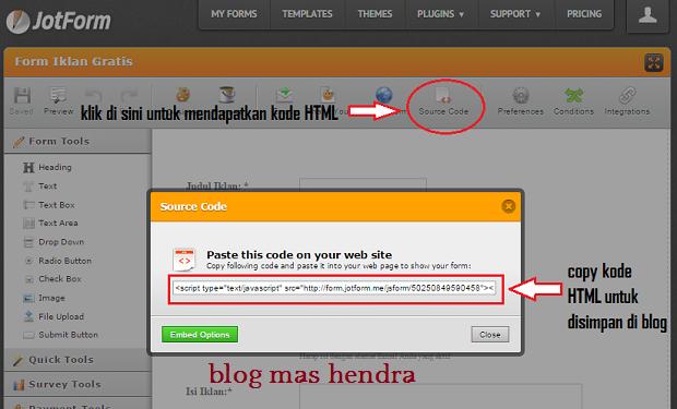 kode HTML yang harus dicopy